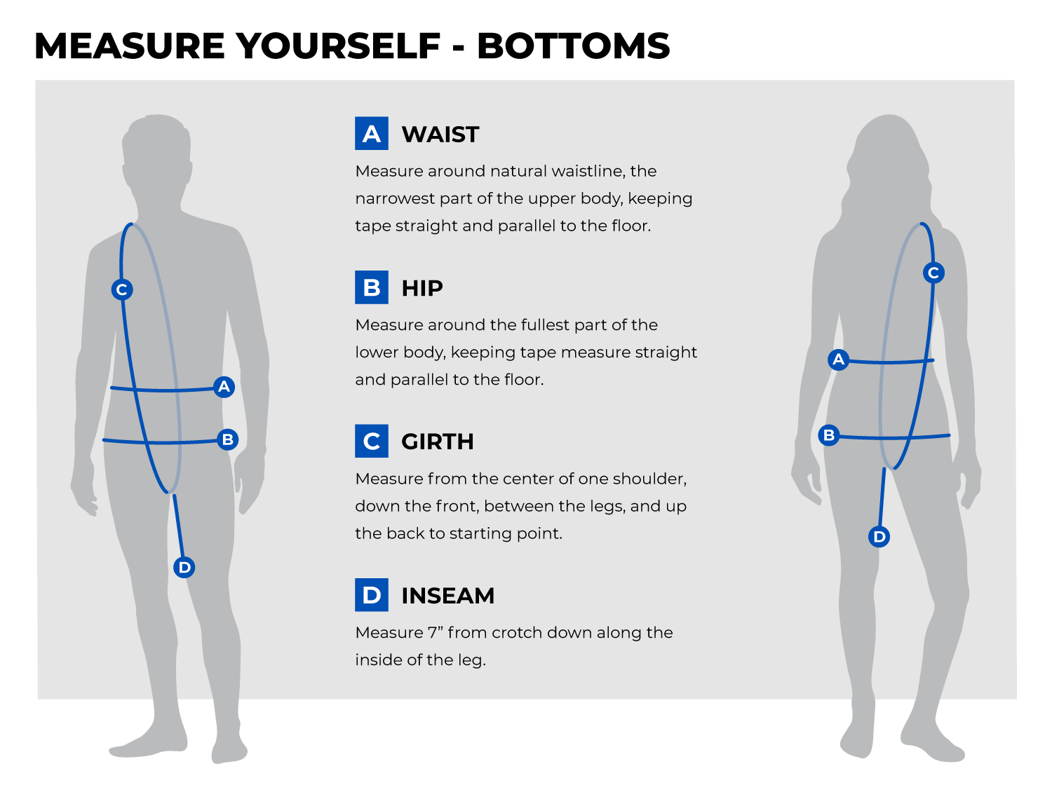 Fit and Size Guide Bottoms