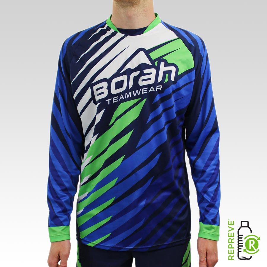 Team Long Sleeve Freeride MTB Jersey Front with Repreve Logo
