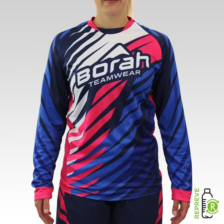 Women's Team Long Sleeve Freeride MTB Jersey Front with Repreve Logo
