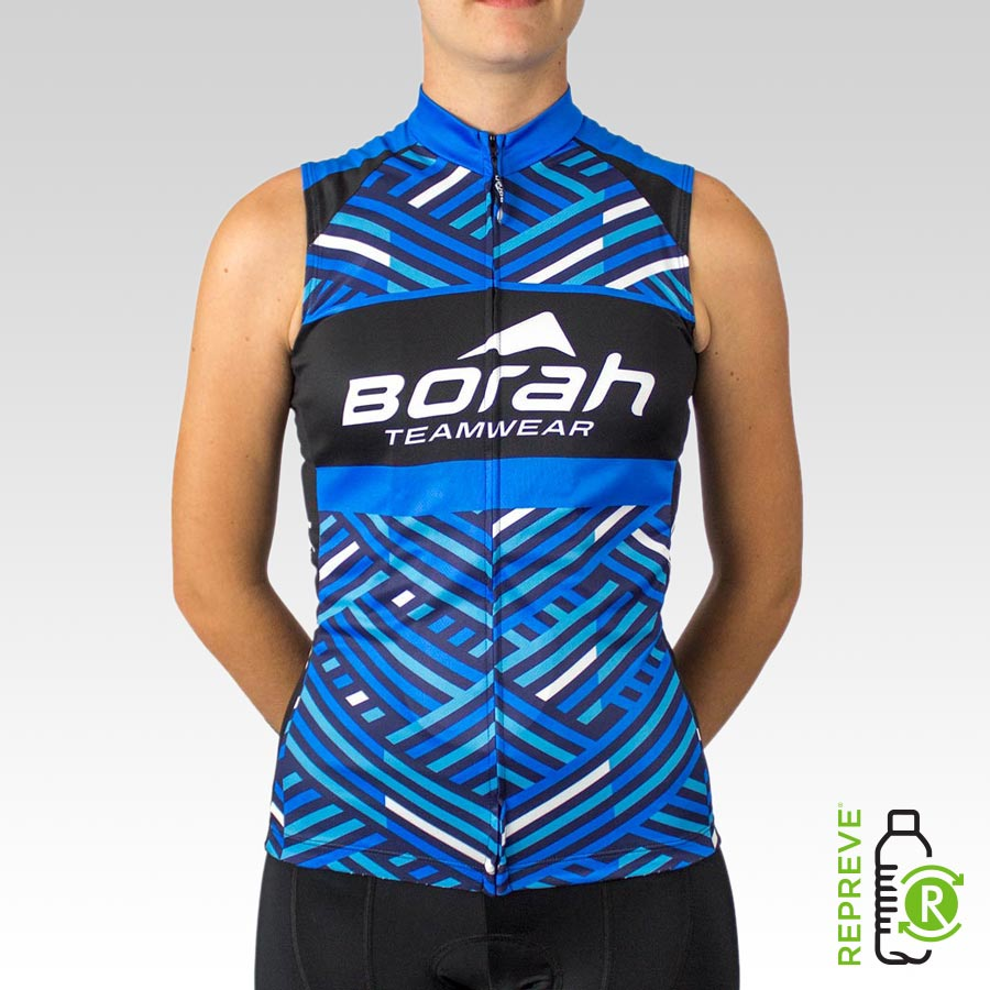 Women's Team Sleeveless Cycling Jersey Front with Repreve Logo