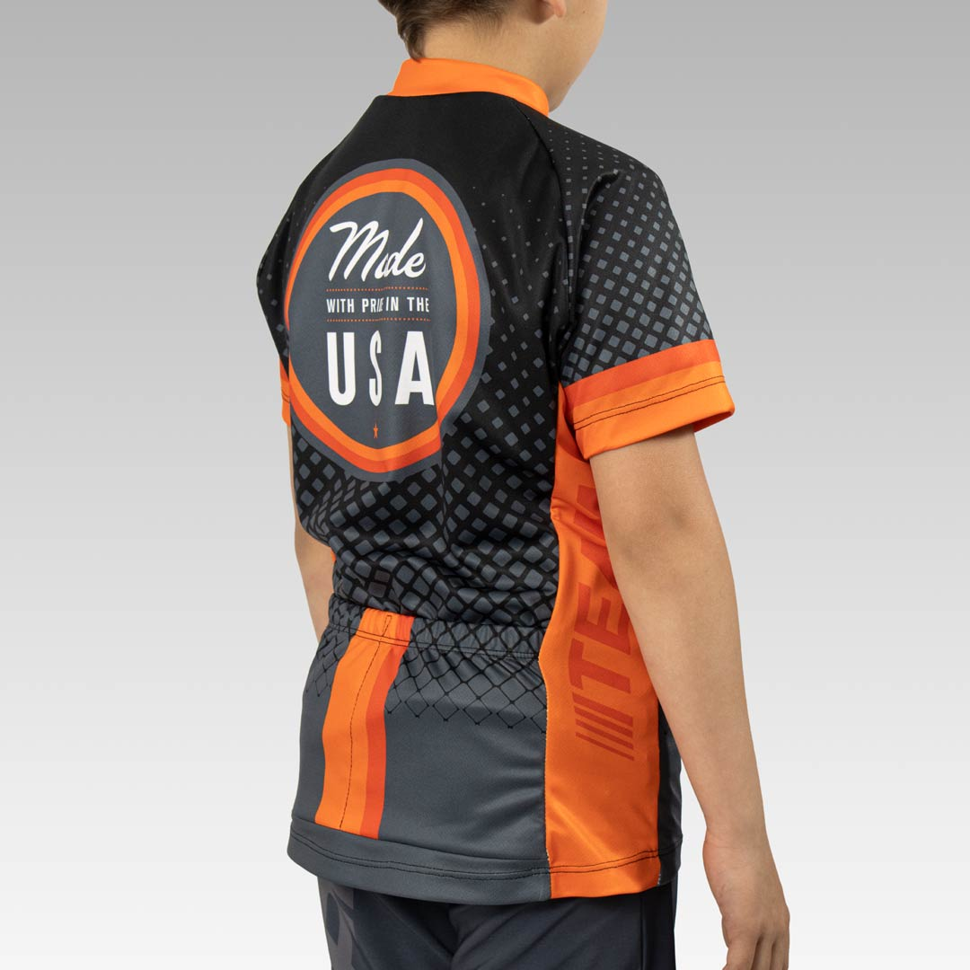 Youth Team Cycling Jersey Back 3/4 View