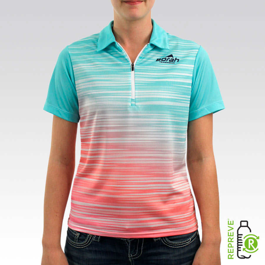 Custom Women's Polo Shirt Front with Repreve Logo