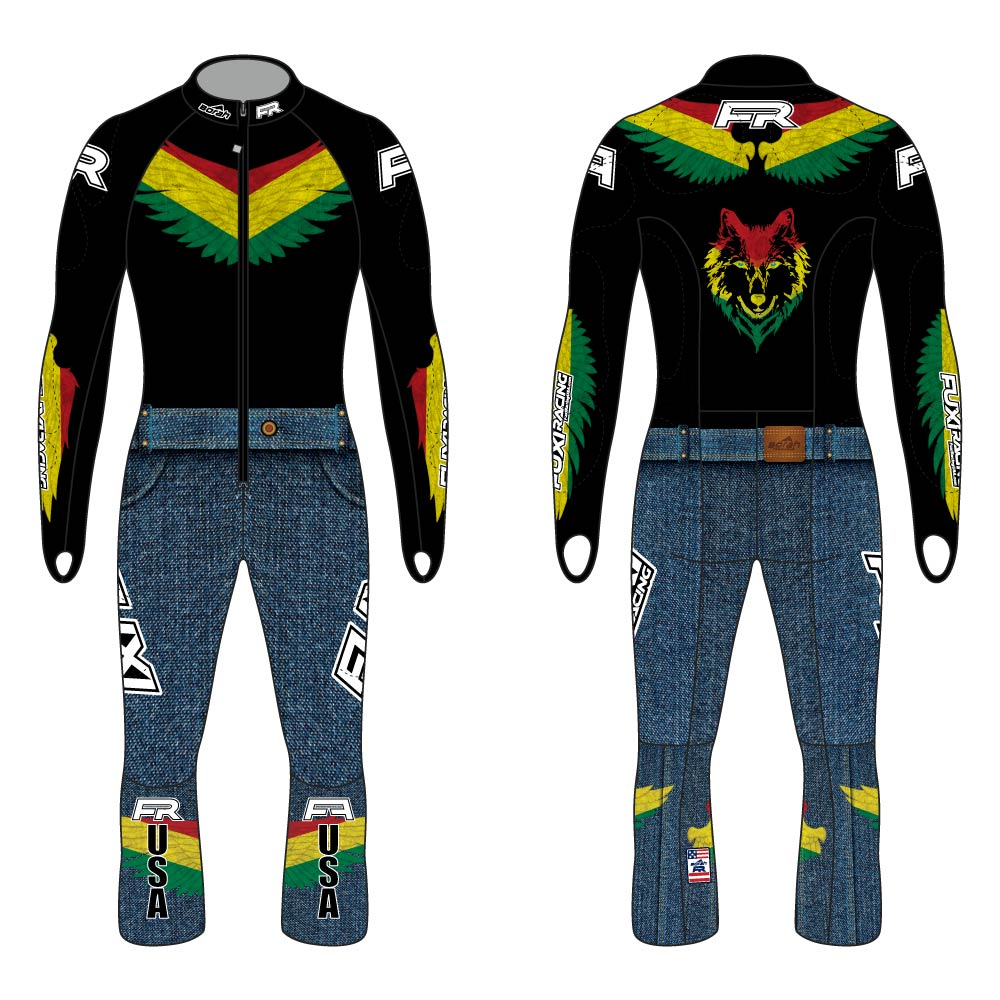 Fuxi Alpine Race Suit - Bolivian Wolf Front and Back
