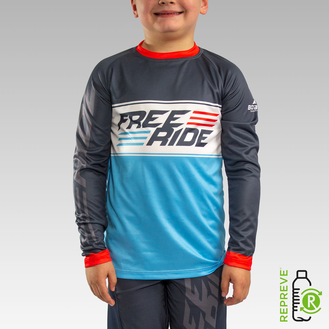 Youth Long Sleeve Freeride MTB Jersey Front with Repreve Logo