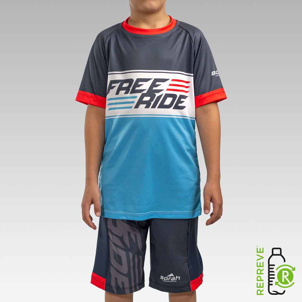 Youth Freeride MTB Jersey Front with Repreve Logo